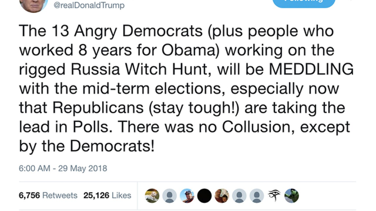 Trump: Mueller's team is 'meddling' in midterm elections