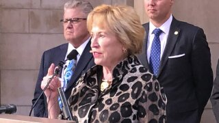 State Sen. Lou Ann Linehan, chairwoman of the Nebraska Legislature's Revenue Committee, addresses reporters about a new property tax proposal, Tuesday, Jan. 14, 2020, at the state Capitol in Lincoln, Neb. The proposal is designed to lower property taxes while boosting aid for public schools. (AP Photo/Grant Schulte).