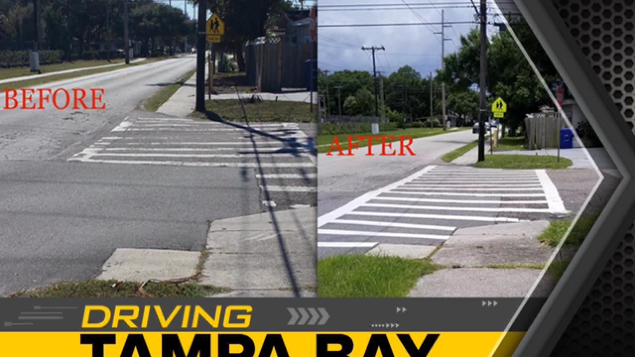 Sidewalk stompers get crosswalk fixed by school