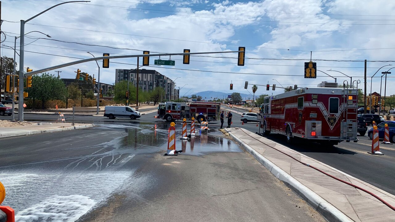 Tucson police shut down the Broadway and Euclid intersection due to a chlorine bleach spill Friday.