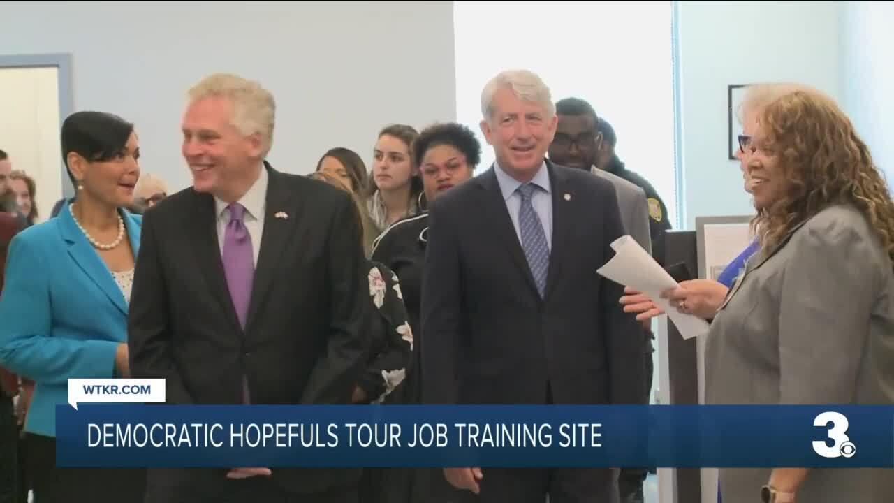 McAuliffe, Ayala and Herring tour Newport News job training site (June 24).jpg