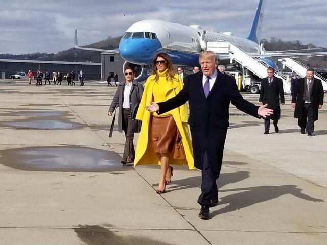 PHOTOS: President Donald Trump and First Lady Melania Trump arrive in Cincinnati