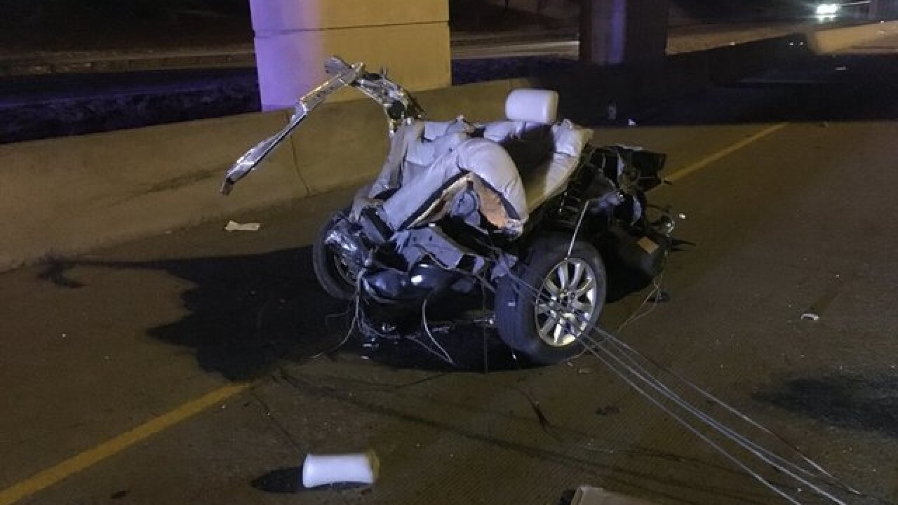 Police: Car ripped in half in high-speed crash on I-225