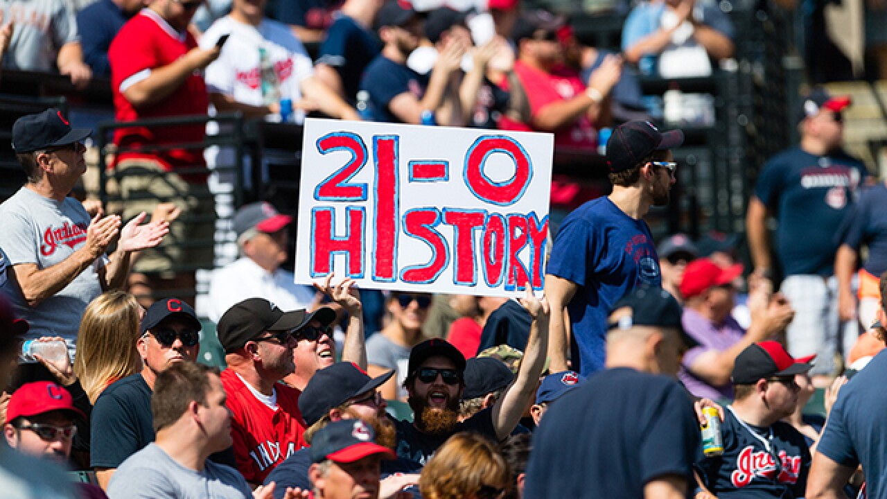Cleveland Indians win 21st straight to set American League record for consecutive wins