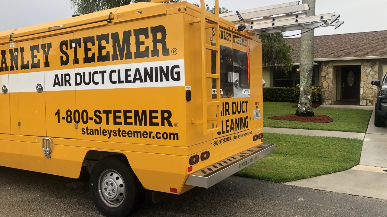 Stanley Steemer Truck Outside in Front of Viamontes Home 092121