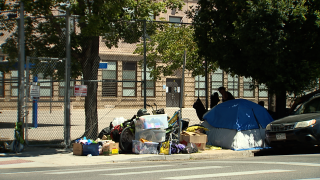 A homeless encampment Morey Middle School