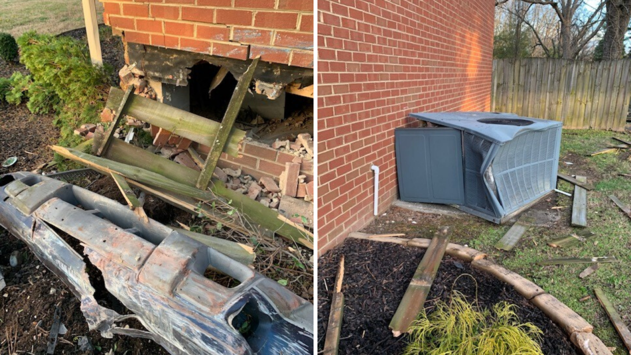 Driver crashes into Chesapeake home, shutting off the heating system for the weekend