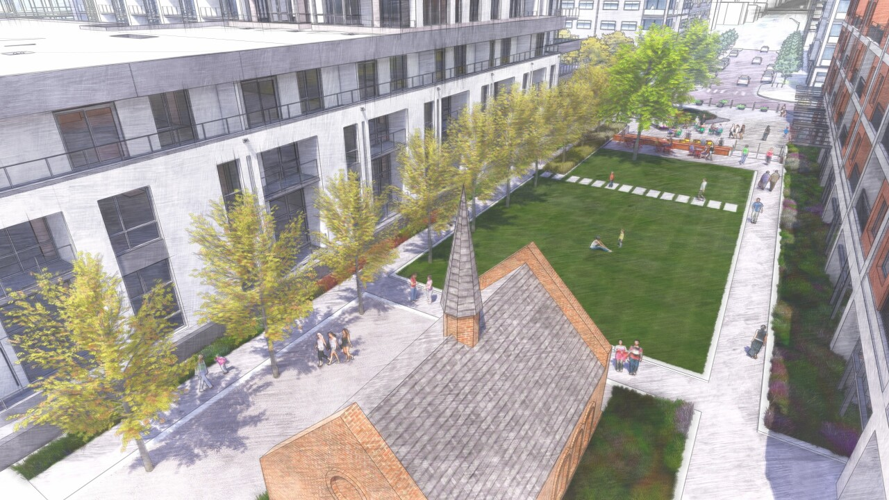 Rendering of renovated shrine and plaza near Sloan's Lake
