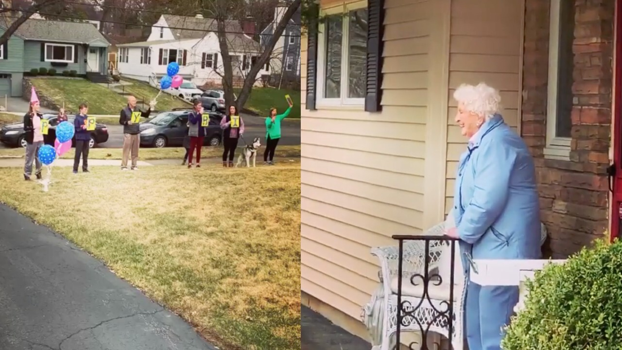 VIDEO: Family sings 'Happy Birthday' to 95-year-old grandma while social distancing