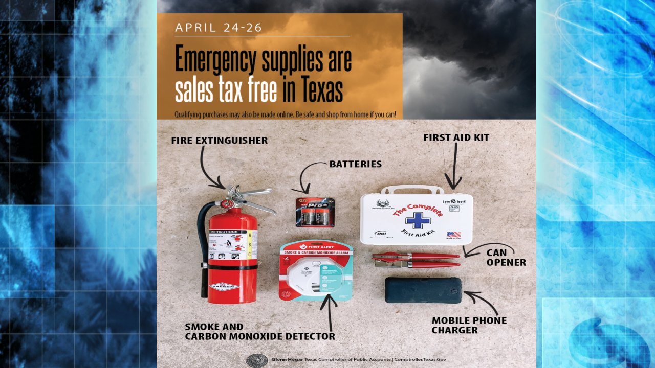 Tax Free Emergency Supply Weekend April 24-26