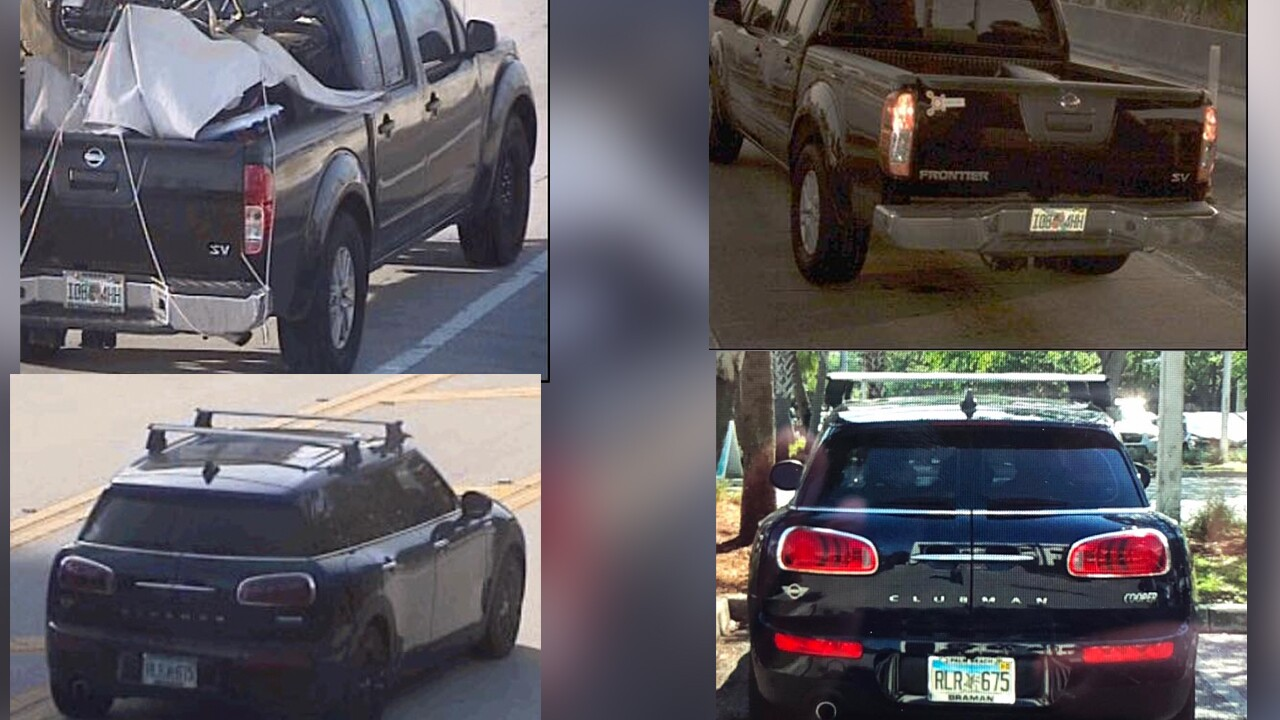 Jupiter police detectives are trying to locate the whereabouts of Gretchen Anthony and believe the vehicles seen in the photos, a black 2016 Nissan Frontier or a dark blue Mini Cooper/Clubman, may connected to her disappearance.