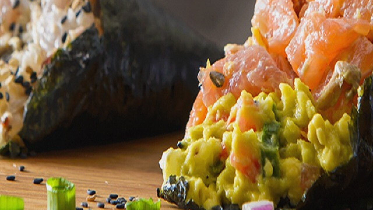 The newest way to eat sushi  in a seaweed cone