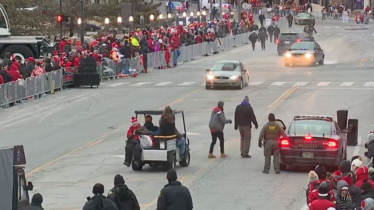 Car drives through barrier along Kansas City Chiefs championship parade route, 2 in custody