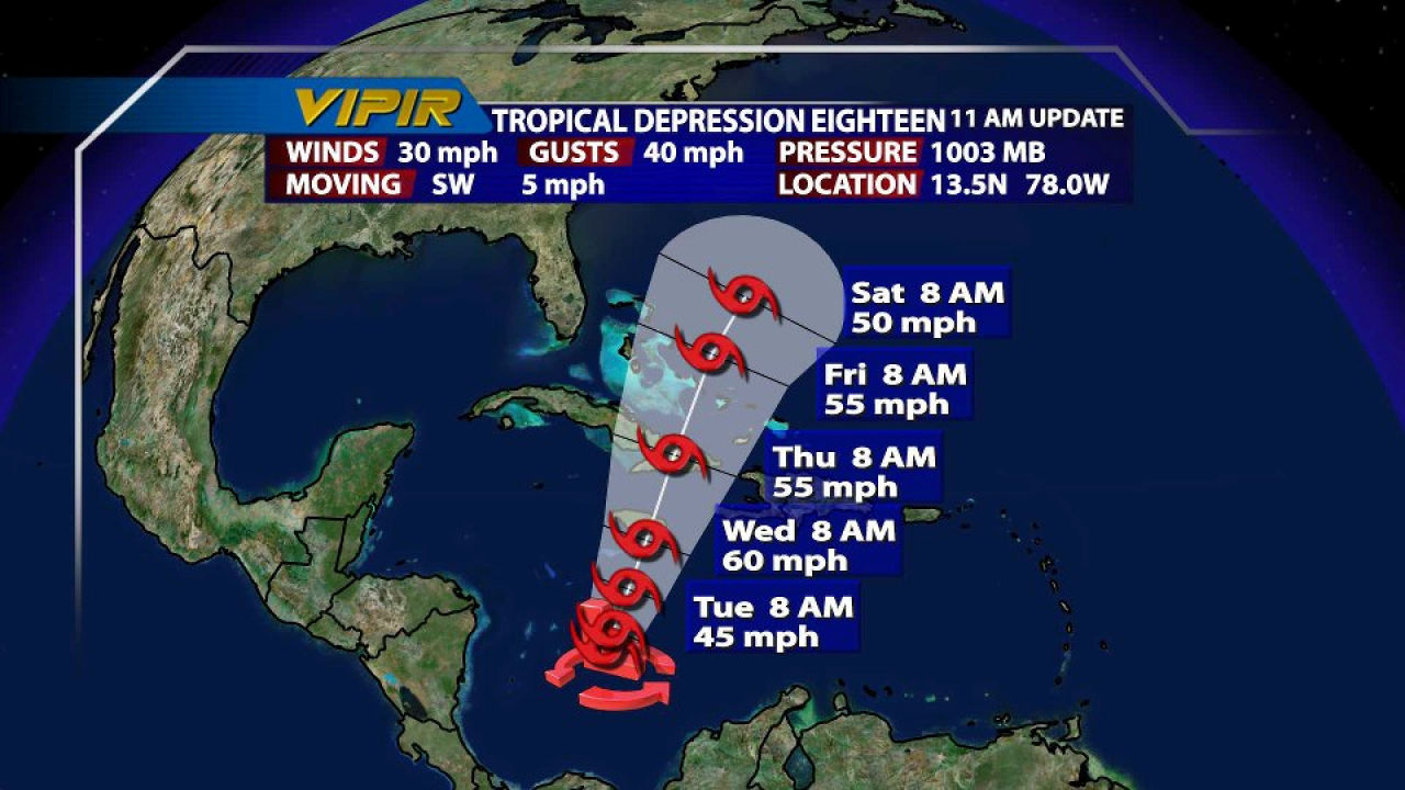 New tropical depression forms in the Caribbean