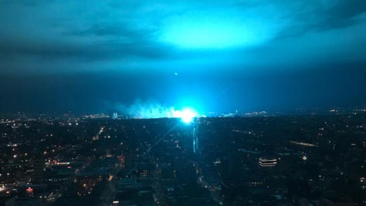 A transformer explosion turned the New York City skyline blue