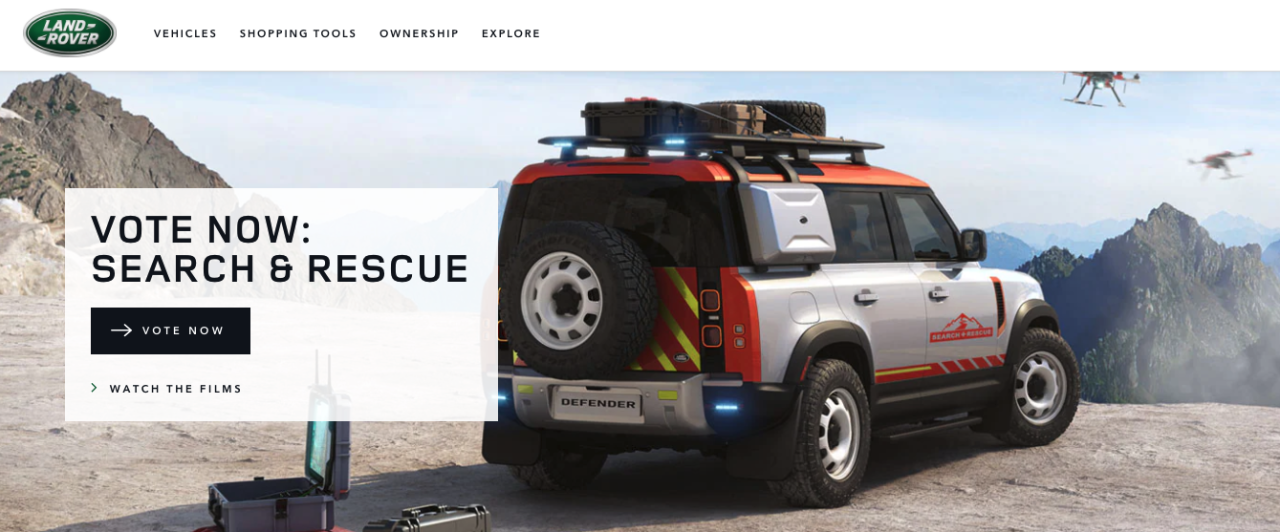 Land Rover page for search and rescue nonprofit