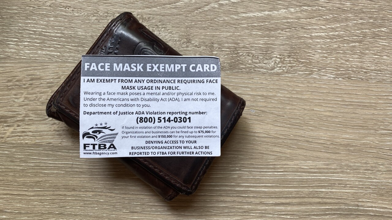 Freedom to Breathe Agency's Face Mask Exempt Card