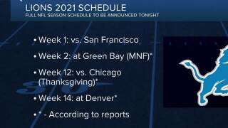 Lions to open 2021 season with home game vs. 49ers