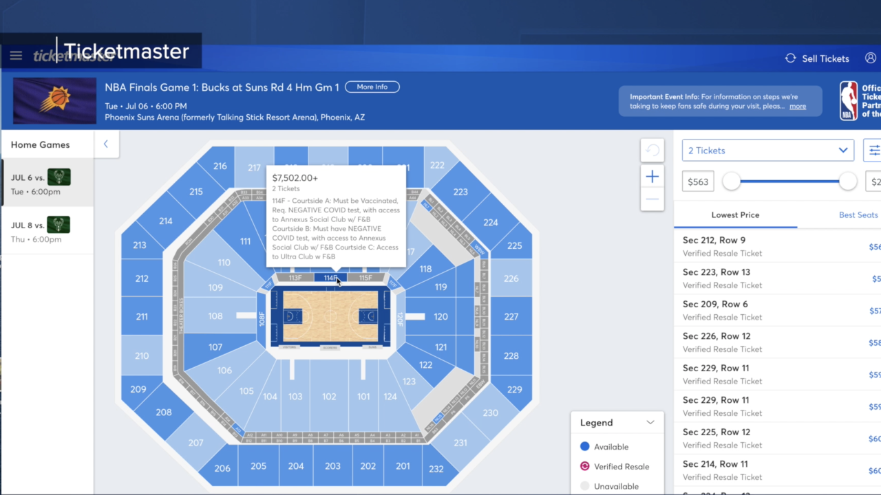 Suns ticket prices