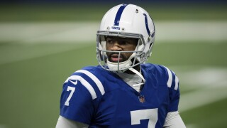Indianapolis Colts QB Jacoby Brissett before game in 2020