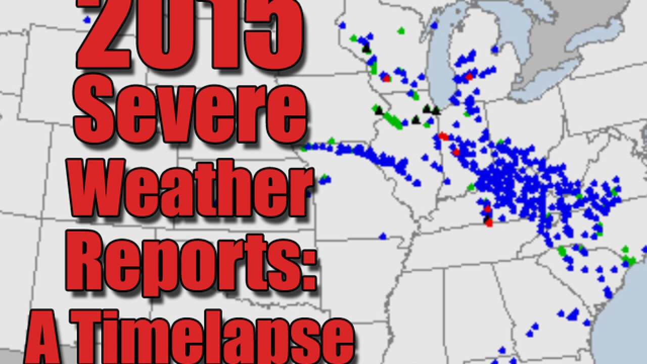 Time-lapse of severe weather reports mesmerizes