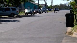 New asphalt road in a neighborhood near City Hall