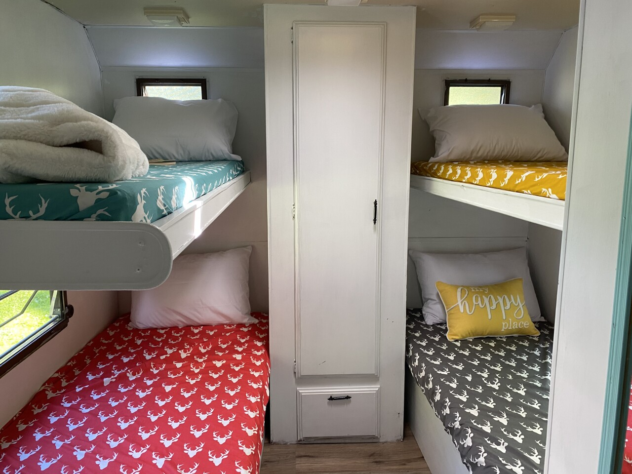 Inside Lauren's renovated camper