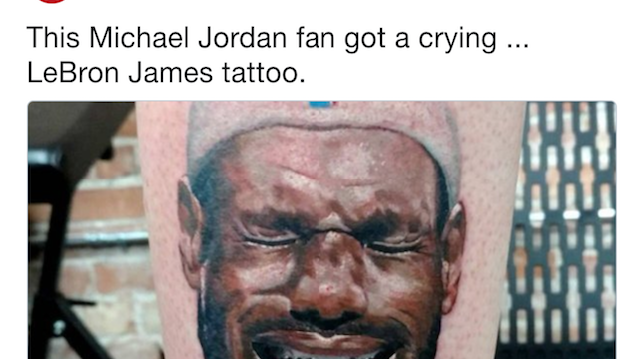 Man dislikes LeBron James so much, he got a leg tattoo of the Cavs star crying