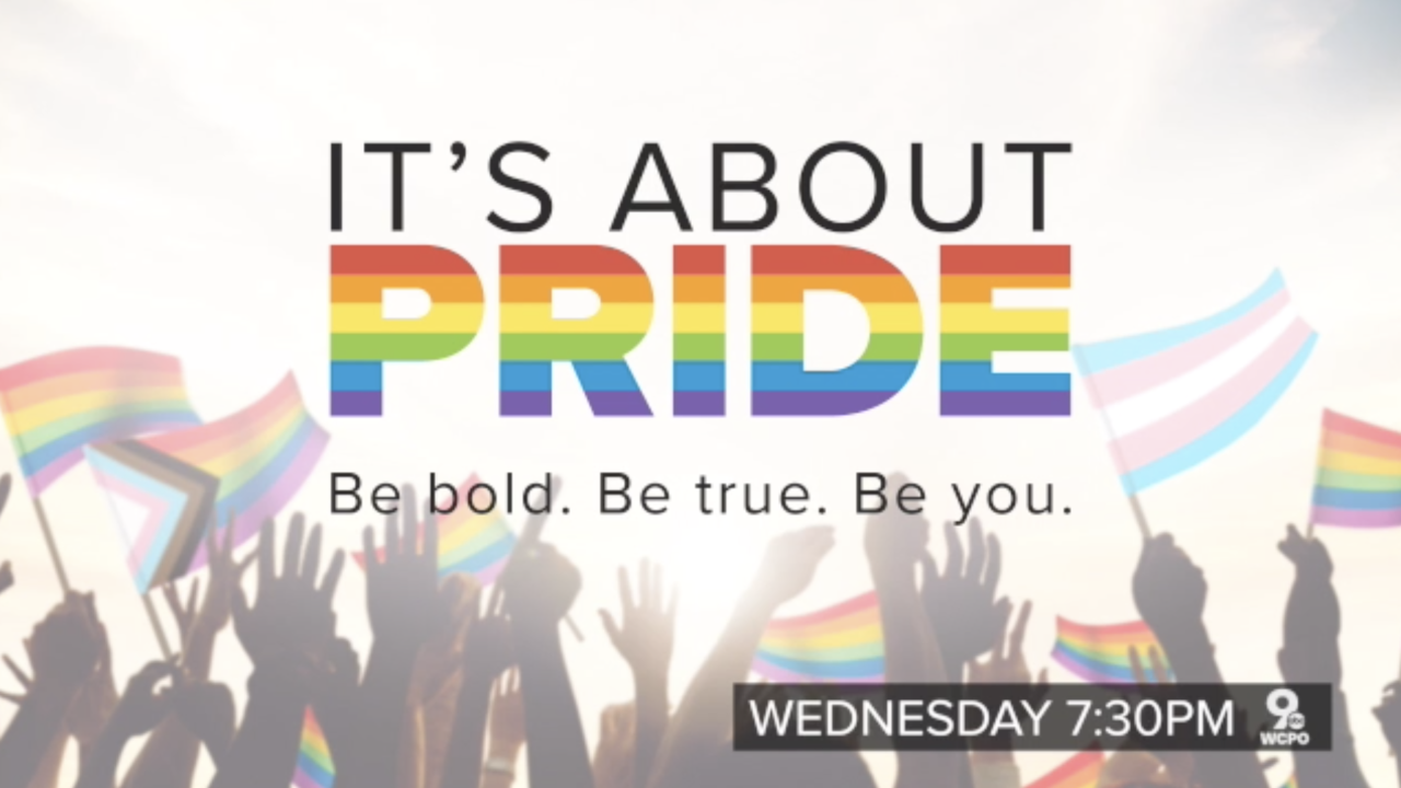 """A graphic shows the text, """"It's all about Pride,"""" with the word """"pride"""" in rainbow lettering, above a line reading, """"Be bold. Be true. Be you."""" The letters are set on top of silhouetted hands holding waving pride flags."""