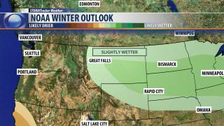NOAA winter outlook: slightly warmer, slightly wetter