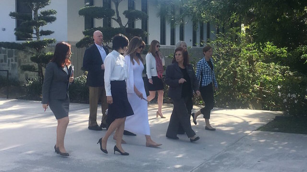 Melania Trump visits Japanese garden in first solo event as first lady