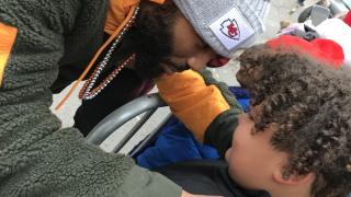 Chiefs' Jordan Lucas stops during championship parade to comfort crying boy