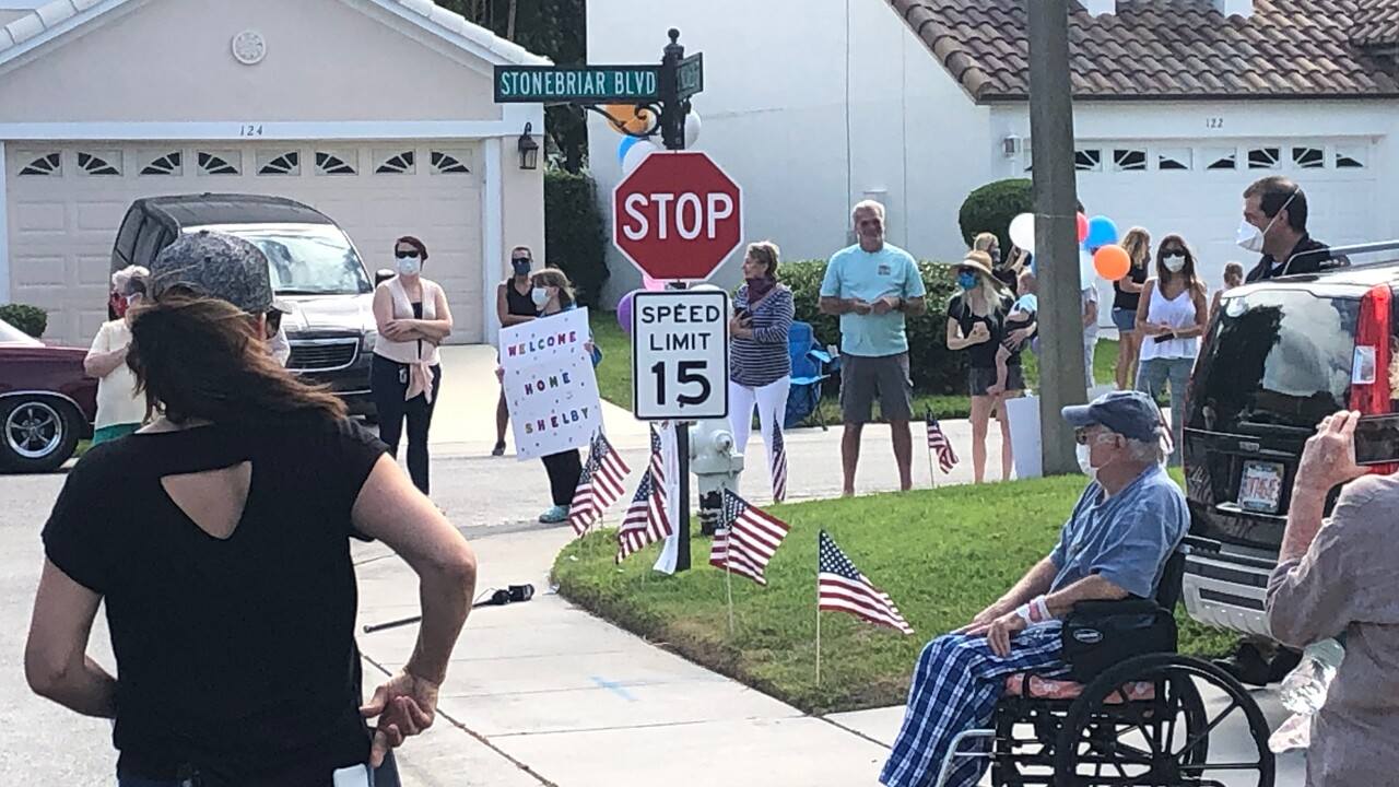 On Monday, Jupiter residents of the Stonebriar neighborhood welcomed home Shelby Raider after he recovered from the coronavirus.