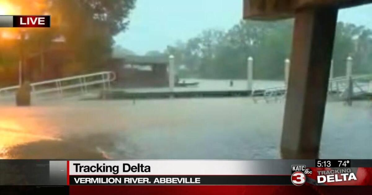 Wind and rain in Vermilion Parish, river on the rise