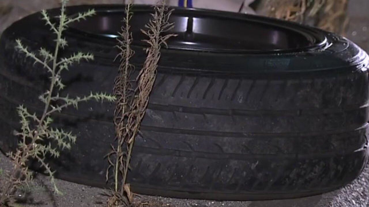 Tire flies off car, hits CHP officer on I-15