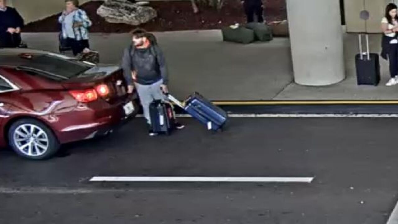 Luggage thief seen on camera at airport