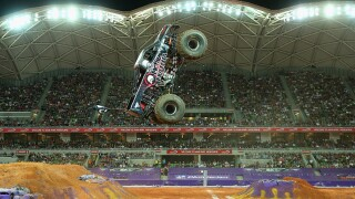 VIDEO: First-ever front-flip by a monster truck in freestyle competition