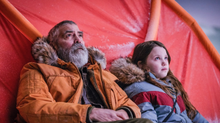 George Clooney with Caoilinn Springall in scene from 'The Midnight Sky'