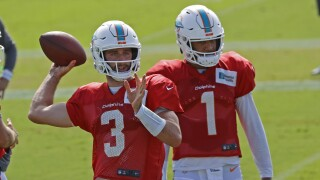 Miami Dolphins QBs Josh Rosen and Tua Tagovailoa in training camp