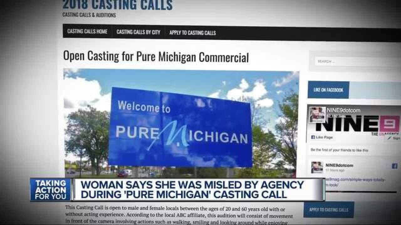 Woman duped by fake 'Pure Michigan' casting call