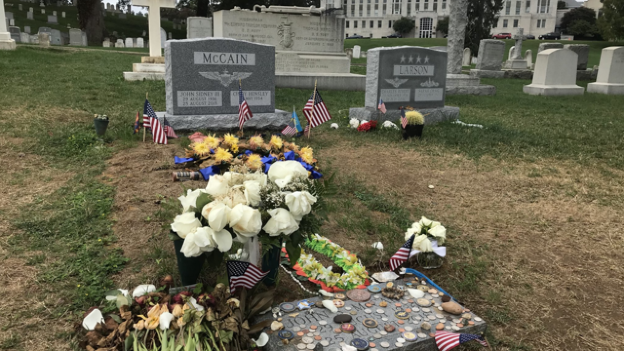 Senator John McCain's headstone placed at US Naval Academy cemetery