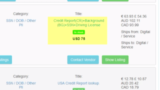 Scammers are selling a credit report, social security number and driver's license for just $75 on the dark web.