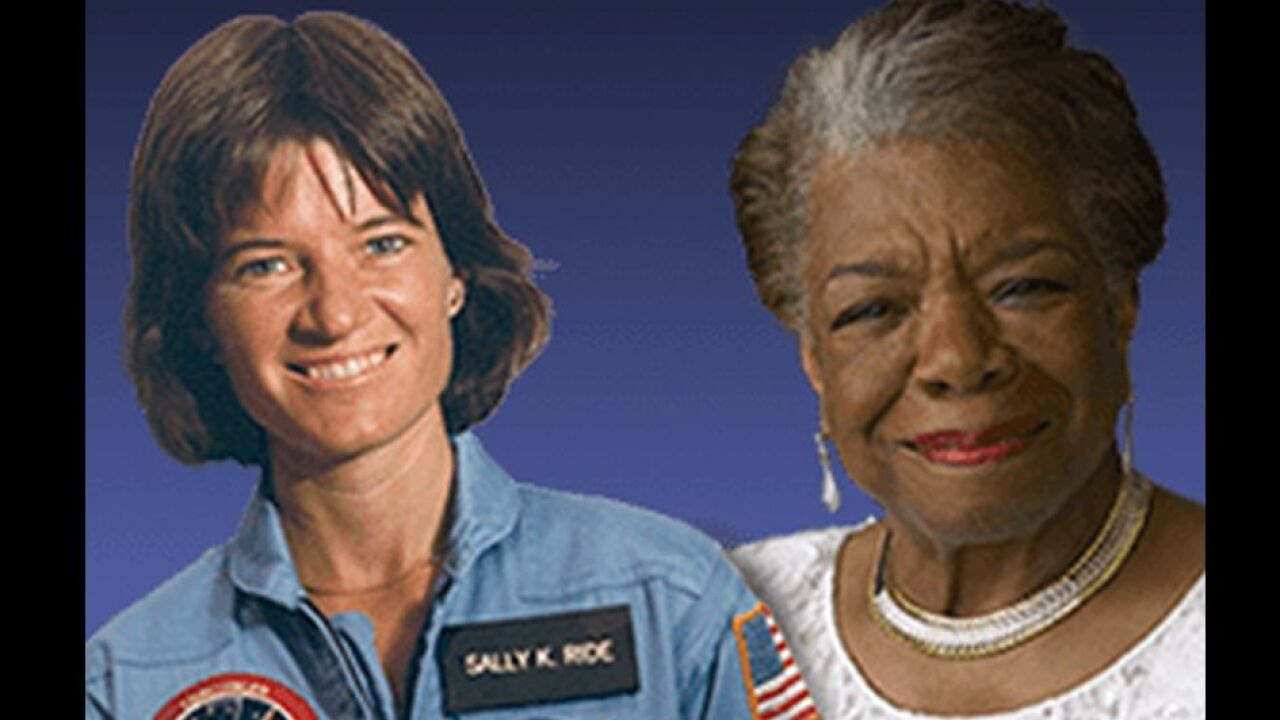 Writer Maya Angelou and astronaut Sally Ride will be the first to appear on the coins.
