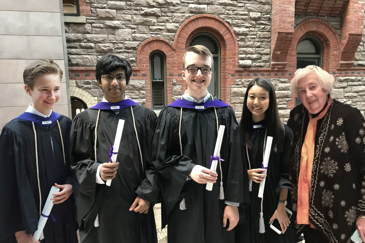 Michael McClure, Debosir Ghosh, Christian Brann and Lillian Kahng all received an LRCM degree under teaching from Mary Handley
