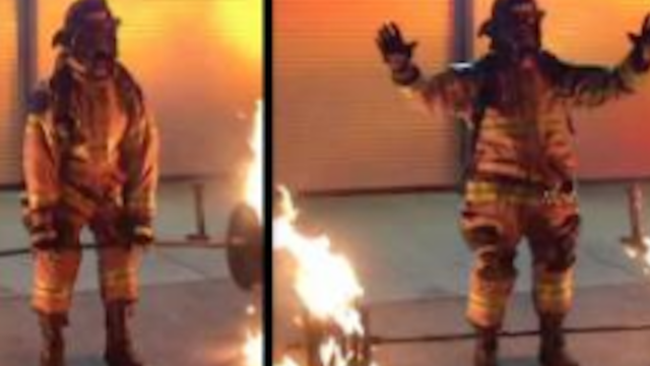 Retired firefighter dead lifts 600-pounds of flaming steel