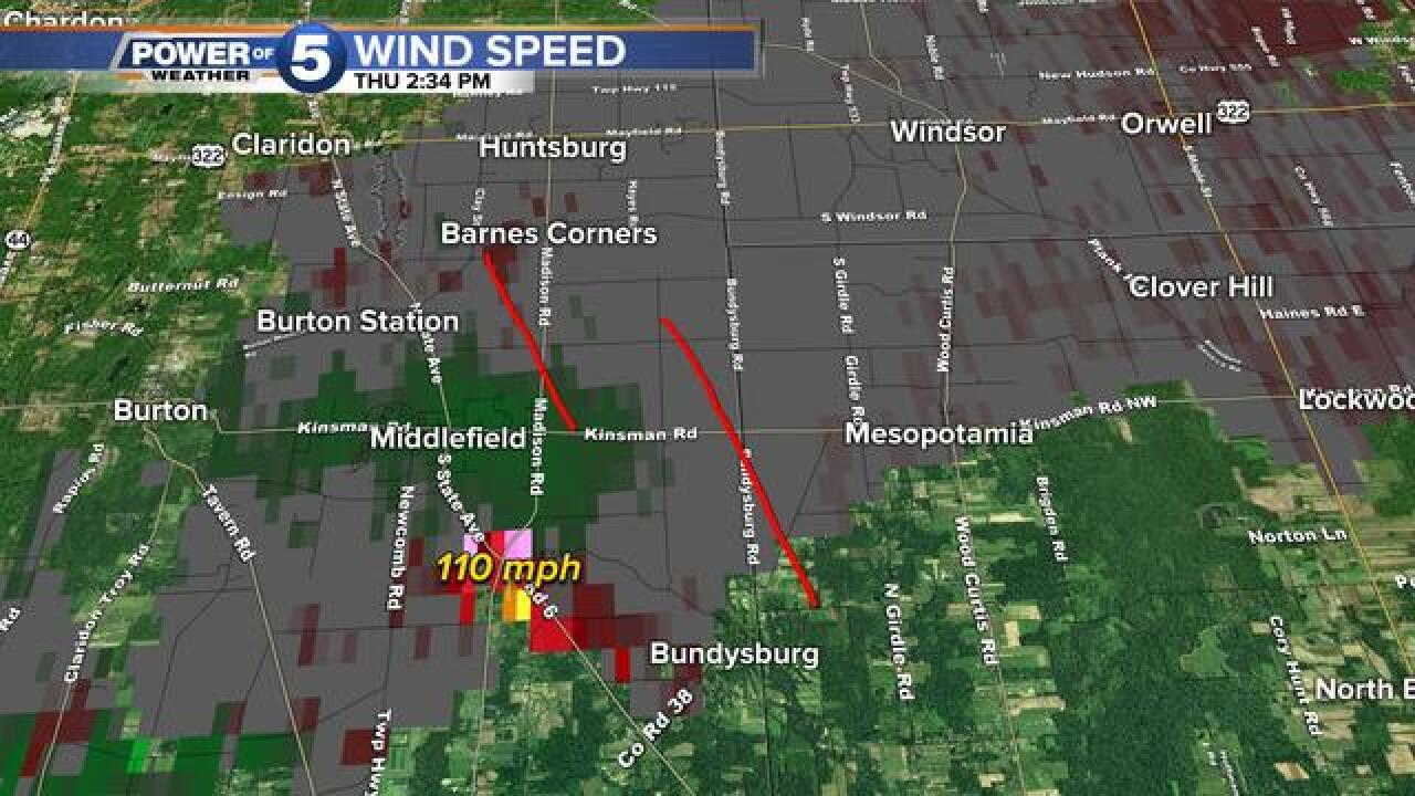 NWS: Tornado touched down near Middlefield Thu