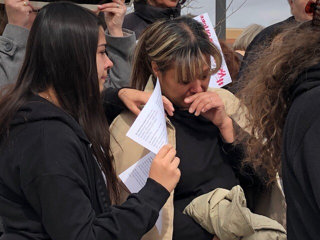 Arturo Hernandez's wife becomes emotional at vigil
