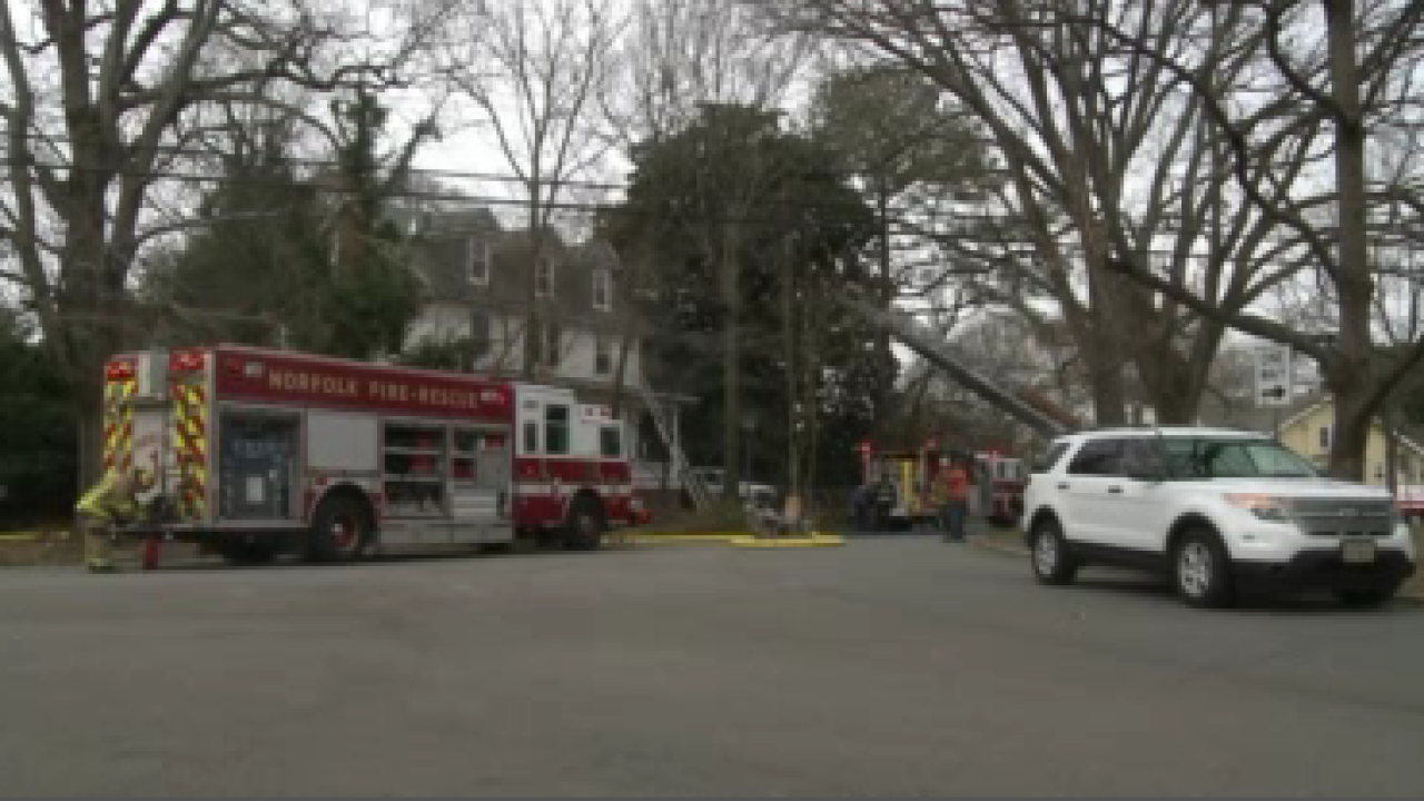 Firefighters respond to a house fire in Norfolk