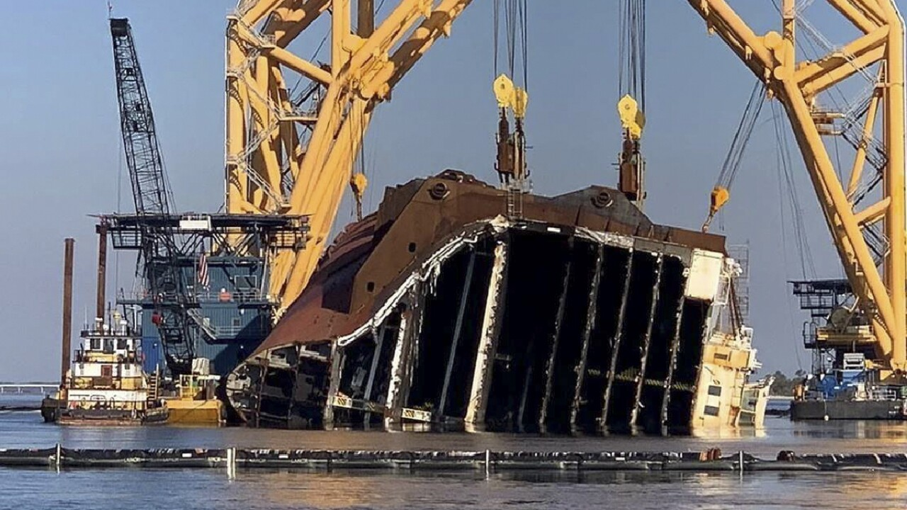 Overturned Cargo Ship