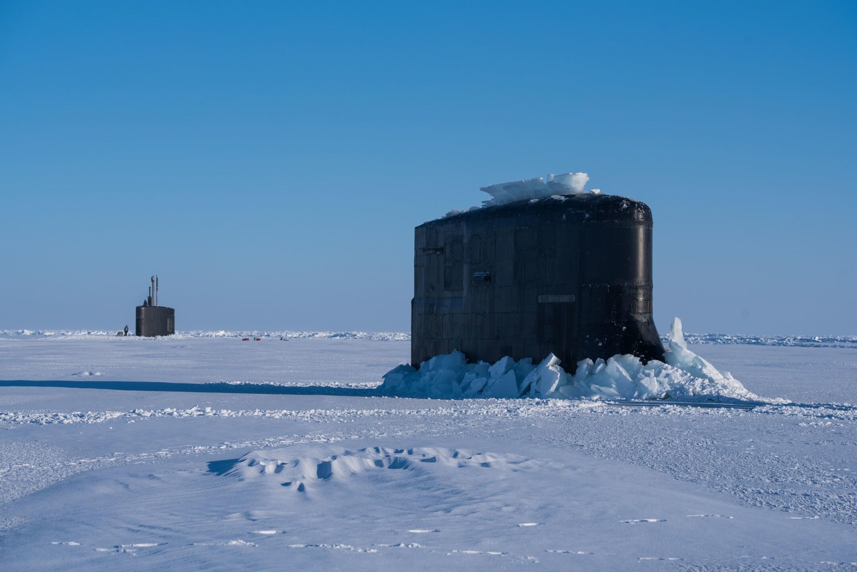 Photos: U.S. Navy submarines surface through ice in ArcticCircle